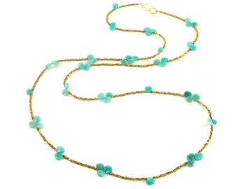 Brass and Amazonite Heart Briolette Long Beaded Necklace