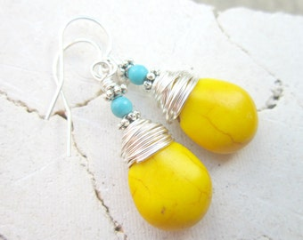 Wire Wrapped Yellow and Turquoise Earrings. Yellow Turquoise Howlite Dangle Earrings. Sunny Yellow Earrings.Turquoise and Yellow Jewelry