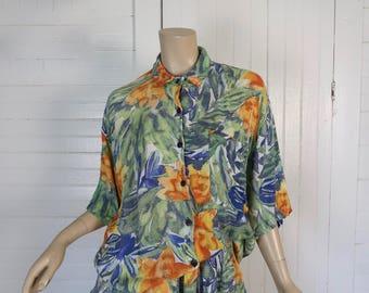90 s shorts & Blouse tenue en aquarelle Floral-vert, bleu et Orange des années 1990 Club - Medium - surdimensionné Funky Fresh printemps été Baggy Vintage