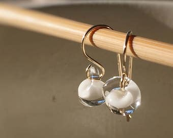 Water Droplet Earrings - Borosilicate Glass Teardrops on Gold Filled Wires in White - Also Available in Sterling Silver