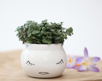 Cute Ceramic Planter/ White Planter With Face/ Succulent Planter/ Kitchen  Herb Garden/