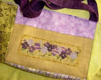 Purple Wildflowers Cross Stitch Pattern
