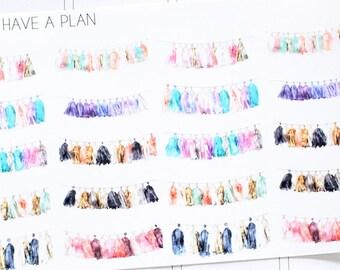 Planner Stickers Watercolor Tassel for Erin Condren, Happy Planner, Filofax, Scrapbooking