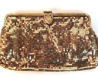 Vintage 50s Gold Mesh Purse, Metallic Gold Evening Clutch with Rhinestone Clasp, Vintage 1950s Evening Bag, Prom Purse, Mesh Handbag