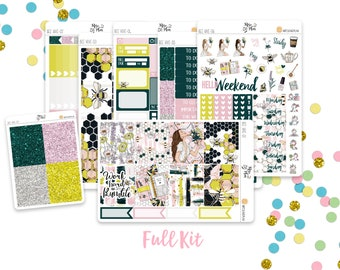 Bee Hive- Vertical Weekly Kit Planner Stickers; Spring, Flowers, Bees, Honey