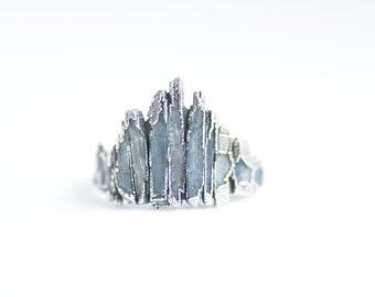 Blue Kyanite Shield Ring. Kyanite Ring. Blue Kyanite Ring. Shield Ring. Crown Ring. Kyanite Crown Ring. Raw Crystal Crown Ring