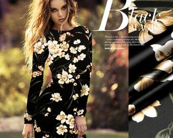 Elegant Silk Flower Fabric By The Yard Stretch Silk Satin Fabric Floral Print Silk Fabric Fashion Dress Fabric Women Clothing Fabric-LANCAO
