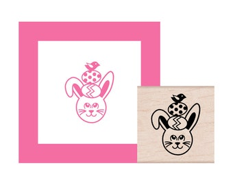 NEW for 2018 Bunny has eggs and a bird on his head Rubber Stamp