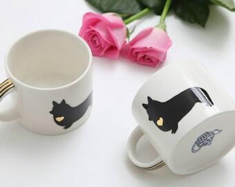 Welsh corgi mug/Handpainted/dog silhouette