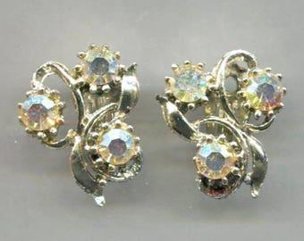 3 Rhinestones Clip-Back Earrings