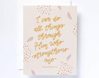 Philippians 4:13 Handlettered Encouragement Greeting Card