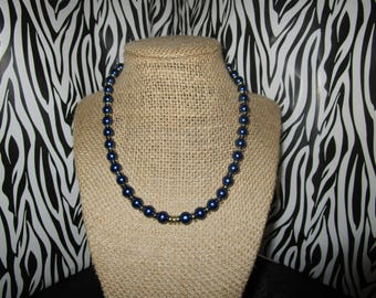 Blue & Silver Pearl Necklace