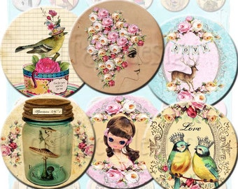INSTANT DIGITAL DOWNLOAD - Whimsical Girly Things - Fairytale 1.5 Inch Circles - Pose Dolls - Birds - Deer -  Pendants Jewelry Necklaces