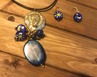 Lion necklace set ceramics sun moon lapis lazuli