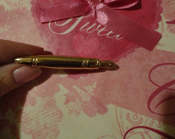 Vintage Goldtone WRITER'S PEN  Pin  Unsigned New View