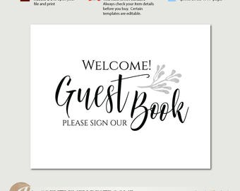 Guest Book Sign / Please Sign Our Guest Book / Wedding Guest Book Sign / Printable PDF Template / Instant Download / #PTL2_01_10