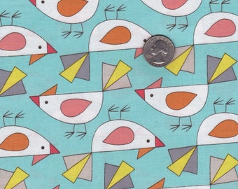 Fat quarter - Tweet in Aqua - Birds of a Feather from Mark Hordyszinski - Michael Miller cotton quilt fabric