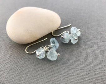 Sterling Silver Gemstone Earrings - Light Blue Aquamarine Earrings -  Dangle Earrings - Cluster Earrings - Bridesmaid Gift - Gift for Women