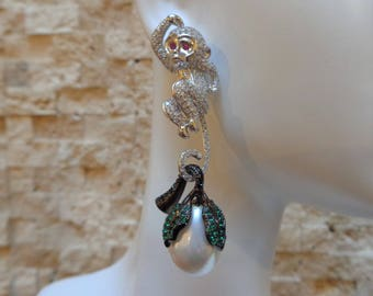 Fun Monkey earrings in Sterling Silver, Ruby and Chrome Diopside with Pearl