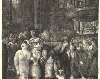 Reproductions of George Bellows Lithographs.  The Street, 1917 - Fine Art Print Reproduction