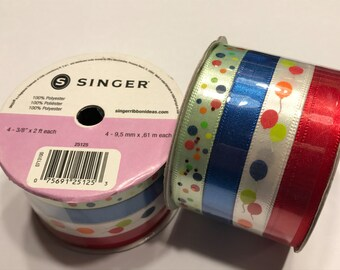 set of 4 different ribbons, Balloons and more (BR3)