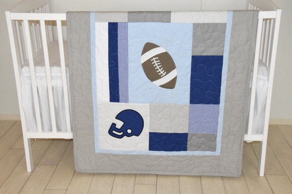 Football Blanket, Baby Boy Sports Crib Bedding, Gray Blue Football  Comforter, Football Nursery