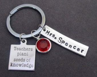 Teachers Plant Seeds of Knowledge Key Chain, Personlized Keychain,Teacher Appreciation gift,Thank You Gift for Teacher,Free Shipping In USA
