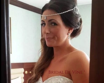 Bridal Pearl Crystal Double Hair Comb - Forehead Band Boho Vintage
