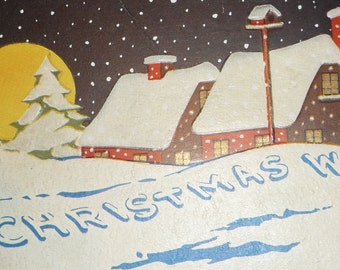 NEW Listing**Houses in the Snow Vintage Christmas Postcard