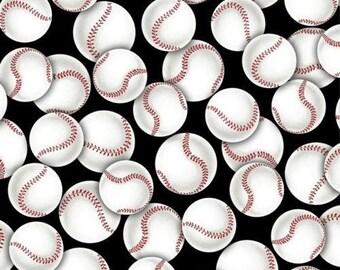 Baseball Fabric : Sports Packed Baseballs Black and white Red Premium by David Textiles 100% cotton Fabric (DA38)