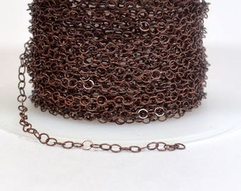 Very Fine Circle Chain - Antique Copper - CH160 - Choose Your Length