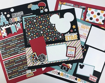 12x12 Disney-like Scrapbook Page Kit or Premade Disney Theme 6 Pages Pre-Cut with Instructions