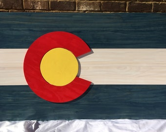 Large Colorado State Flag   CO State Wooden Flag