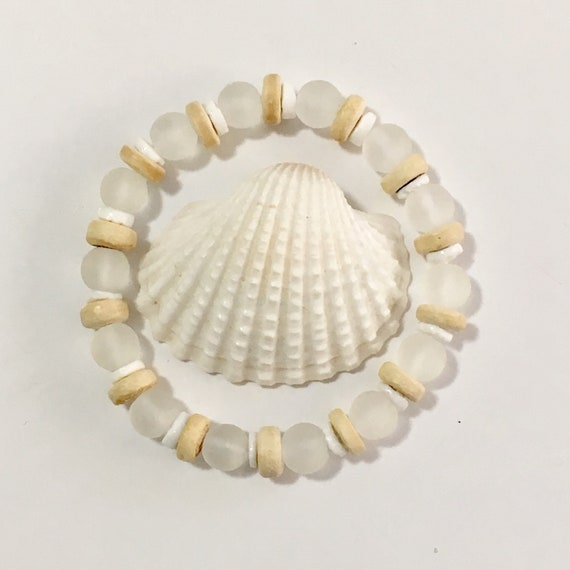 beach jewelry, cultured sea glass bracelet, shell bracelet, mermaid jewelry, beachcomber bohemian bracelet