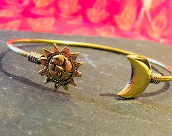 Brass Bangle, Brass Bracelet, Sun and Moon Bracelet, Celestial Bracelet, Gypsy Bracelet, Boho