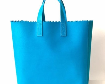 Blue Leather Tote Bag, Leather Tote, Women Leather Bag, Women Tote Bag, Leather Handbags, Leather Laptop Bag, Leather Gift