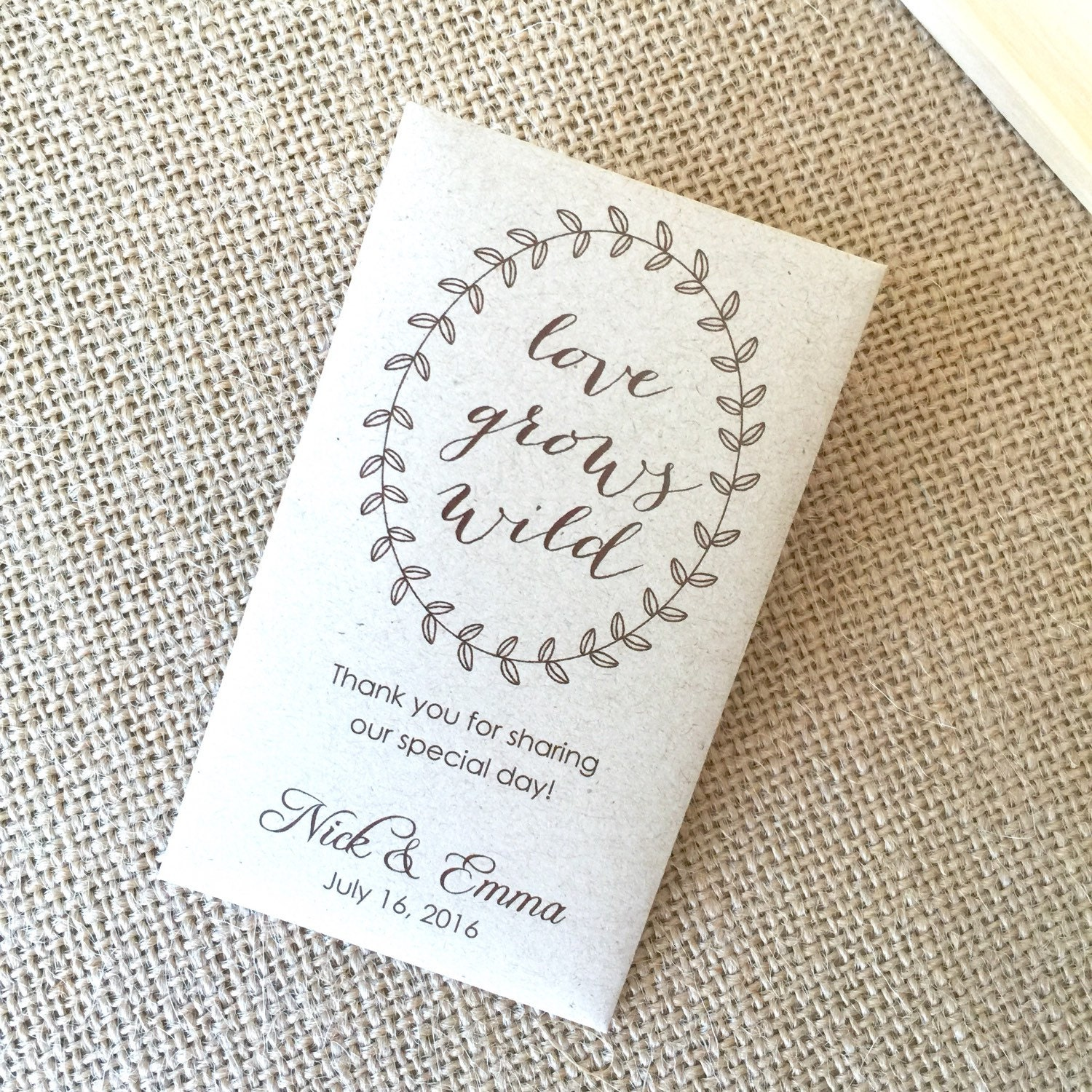 DIY Custom Seed Packet Wedding Favors, Custom Envelope, Kraft ...