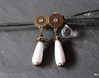 Bronze drop clip earrings white jade