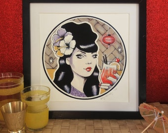 Giclée print by Andy McCready - 'Singapore Sling' - Limited edition, small, retro, cocktail. Prints by giltandenvy on Etsy.