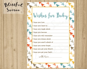 INSTANT DOWNLOAD / Printable Wishes for Baby Card / Arrows / Baby Shower / Baby Wishes / 5x7 Card / Tribal / Pow Wow / BS02