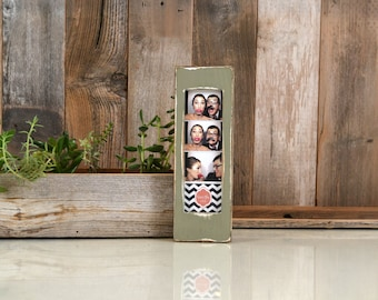 "Photo Booth Frame for 2 x 6 Picture Strip with Super Vintage Old Green Finish - 2x6"" Photo Booth Frame - IN STOCK - Same Day Shipping"