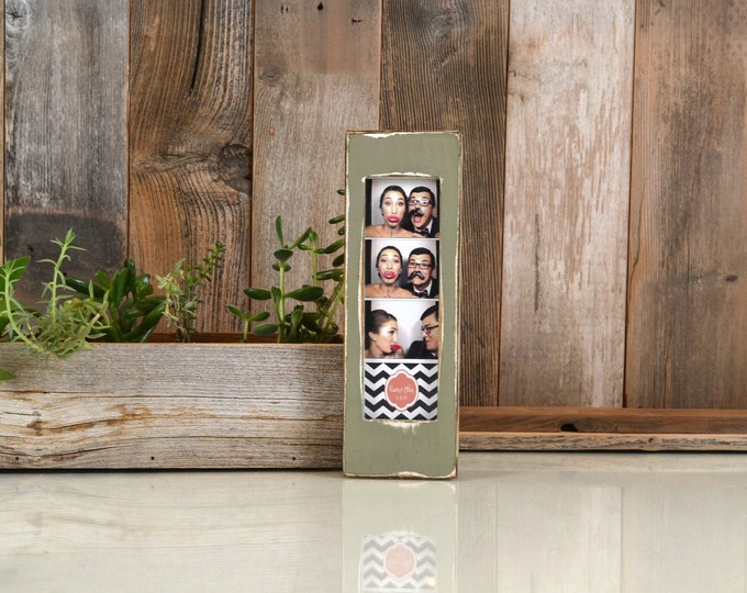 """Photo Booth Frame for 2 x 6 Picture Strip with Super Vintage Old Green Finish - 2x6"""" Photo Booth Frame - IN STOCK - Same Day Shipping"""