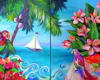 Tropical Dyptic Large Original Acrylic Painting 30 x 48 Art by Elaine Cory