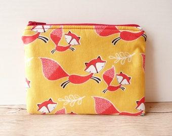 Fox coin purse, red fox, wallet, travel wallet, fox change purse, zipped pouch, cute fox, fox purse, fox wallet, zipper pouch, coin purse