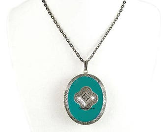 Hand Painted Pill Box Necklace in Teal Opaque Enamel Gothic Quatrefoil Inspired Oval Locket Necklace with Color and Personalized Options