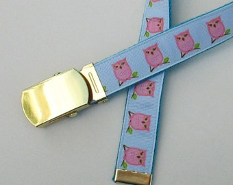 Pink Owl Belt for Kids, Cute Childrens Belts for Children, Cute Kids Belts, Cute Girls Belts for Girls, Owl Themed Belt, School Belts