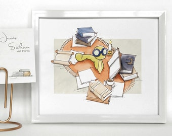 Bookworm Illustration Print 5x7 or 8x10
