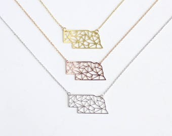 Nebraska Geometric Necklace | Silver | Small | ATL-N-000-S