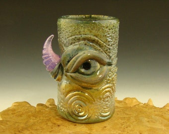 Hand blown Glass Eye Jar or Shot Glass Flameworked Bar Art by Eli Mazet Silver w/ Horn (ready to ship)