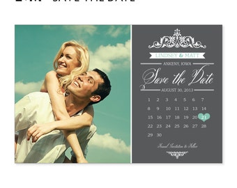 Save the Date Invite, Save our Date Invitation, Photo with Calendar, DIY Printable Digital File